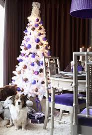 White Christmas Tree Brown Decorations by Snow White Christmas Tree With Purple And Brown Balls Decorations