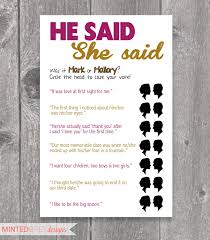 he said she said bridal shower printable he said she said bridal shower