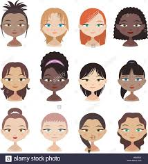 female avatar faces set 2 with different haircuts and color and