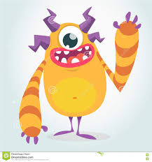 happy orange monster vector halloween monster with one eye waving