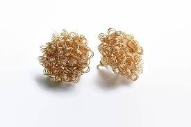 modern gold stud earrings gold stud earrings handmade wire crochet earrings wire