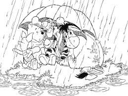 pooh friends umbrella coloring animal pages