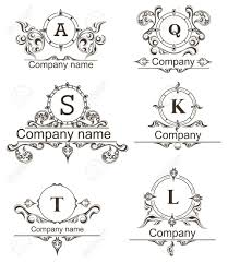 set luxury icons template flourishes calligraphy ornament