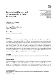 socio cultural factors and entrepreneurial activity an overview