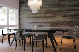 reclaimed wood walls dining room contemporary with rectangular