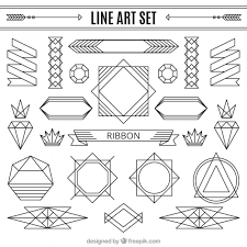line ornaments set vector free