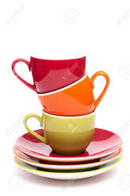 Top Coffee Mugs Three Coloured Coffee Mugs Are On Top Of Each Other Stock Photo