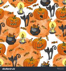 Halloween Cat Fabric Halloween Doodles Seamless Patternhand Drawing