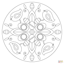 easter mandala with bunny and eggs coloring page free printable