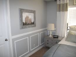 Two Tone Walls With Chair Rail Beautifying The Master Bedroom Dark Colors Blue Grey And