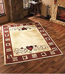 amazon com decorative country runner hearts u0026 berries kitchen