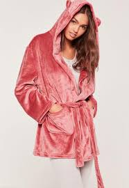 soft fleece dressing gown with ears pink missguided