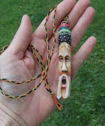 wood carving necklace spirit tree branch eco folk art santa claus