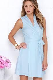 light blue sleeveless dress chic light blue dress wrap dress sleeveless dress 40 00