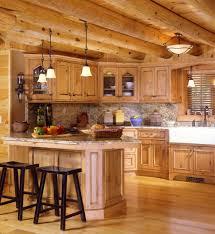 wood countertops log cabin kitchen cabinets lighting flooring sink