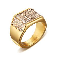 wedding male rings images Eamior 11mm gold romantic ring stainless steel inlay three sides jpg