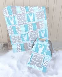 Bedding For A Crib Woodland Baby Quilt Turquoise Gray Baby Crib Bedding Crib