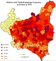 Map Poland A Map Of The Hebrew And Yiddish Language Frequency In Poland Based
