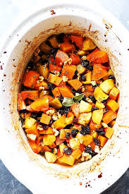 crock pot butternut squash with apples walnuts and raisins diethood