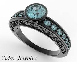 aquamarine wedding rings women s black gold aquamarine wedding band vidar jewelry