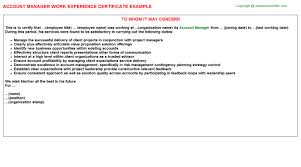 account manager work experience certificate