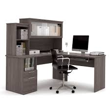 Shaped Desk Bestar Dayton L Shaped Desk In Bark Gray 88420 47