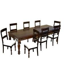 Acacia Wood Dining Room Furniture by Acacia Wood Dining Table U0026 Leather Upholstered Chairs