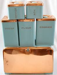 copper canisters kitchen copper and powder blue flour sugar coffee tea cookie canister