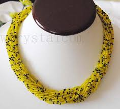 black glass necklace images Yellow black small glass beads necklace free shipping in choker jpg