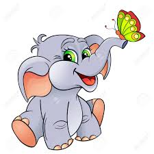 baby elephant with butterfly royalty free cliparts
