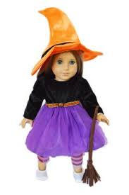 Doll Dress Halloween Costume Simple Witch Broom Complete Dolls Costume