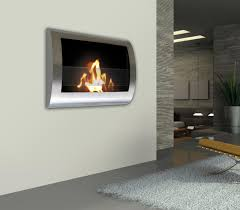 in rectangle glass smokeless fireplace above laminate wood