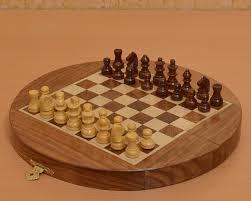 buy round shape magnetic chess set online in sheesham wood