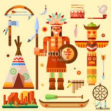 indian theme illustration set for thanksgiving day indian symbols