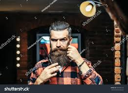 handsome bearded man hipster stylish haircut stock photo 507502723