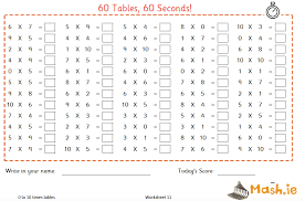60 worksheets to test 0 to 2 times tables u2013 mash ie