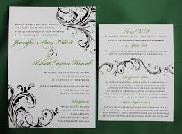 scroll wedding invitations green black swirling scroll wedding invitations emdotzee designs