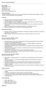 Payroll Specialist Resume Sample by Insurance Specialist Resume Sample Samplebusinessresume Com