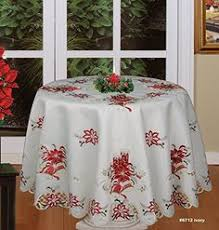 embroidered poinsettia candle tablecloth 88