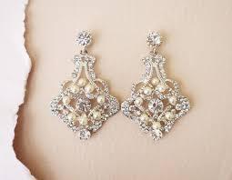 crystal bridal earrings wedding statement earrings art deco bridal