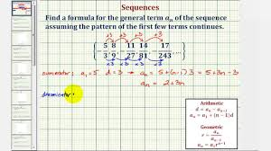 ex find the general formula for a sequence in fraction form