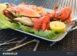 red lobster dungeness crab jumbo shrimps stock photo 158453687
