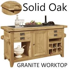 oak kitchen island units lyon solid oak furniture large granite top kitchen island unit ebay
