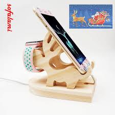 support t hone portable bureau bois support de noël elk cerf bureau dock de charge téléphone