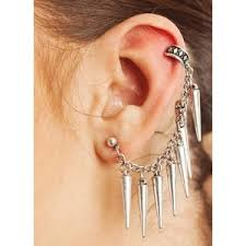 earring on ear spiked ear cuff stud earrings polyvore