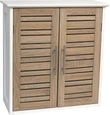 bathroom wall mounted cabinet 2 doors bamboo wood