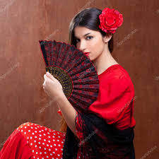 flamenco dancer woman gipsy red rose spanish fan u2014 stock photo
