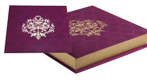 sweet boxes for indian weddings card box in purple and golden colour