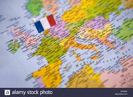 Flag Capital Flag Pin Placed On World Map In The Capital Of France Paris Stock