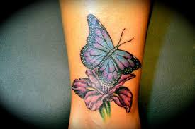 purple ink iris flower with butterfly design for sleeve